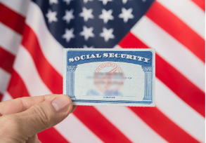 Social Security card with American flag in background